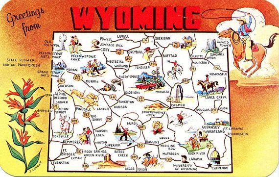 Wyoming State Map Vintage Chrome Greetings Postcard (unused ...