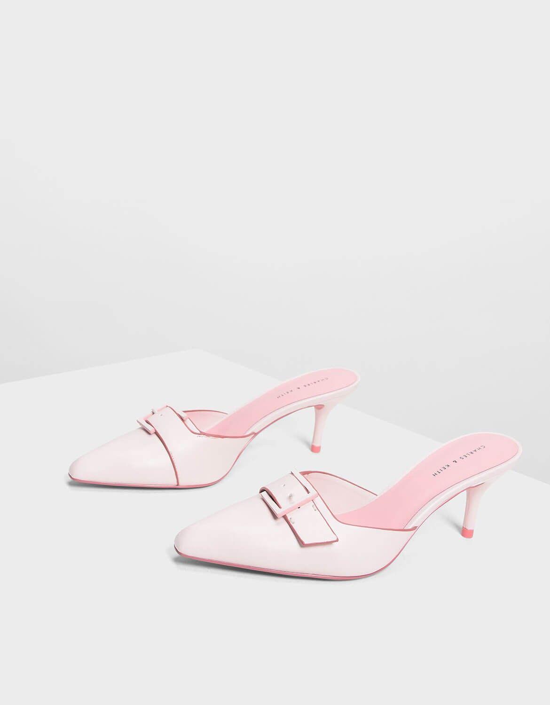 Light Pink Buckle Slip on Heels