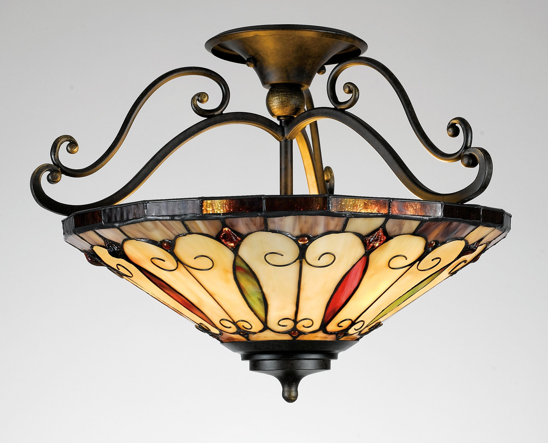 Harvest Tiffany Semi Flush Ceiling Light
