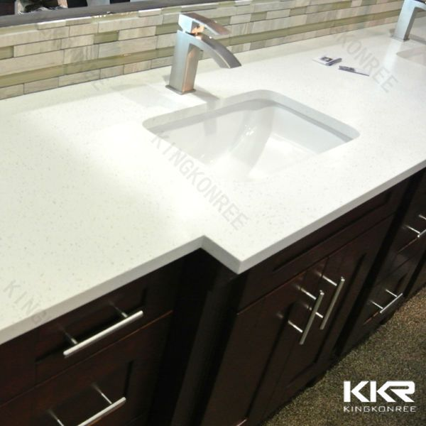 One piece bathroom sink and molded countertop buy molded for Man made quartz countertop