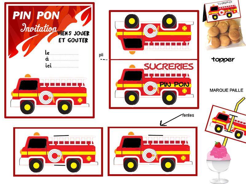 Theme les pompiers heroiques 1 et 2 et 3 doudous - Decoration anniversaire sam le pompier ...