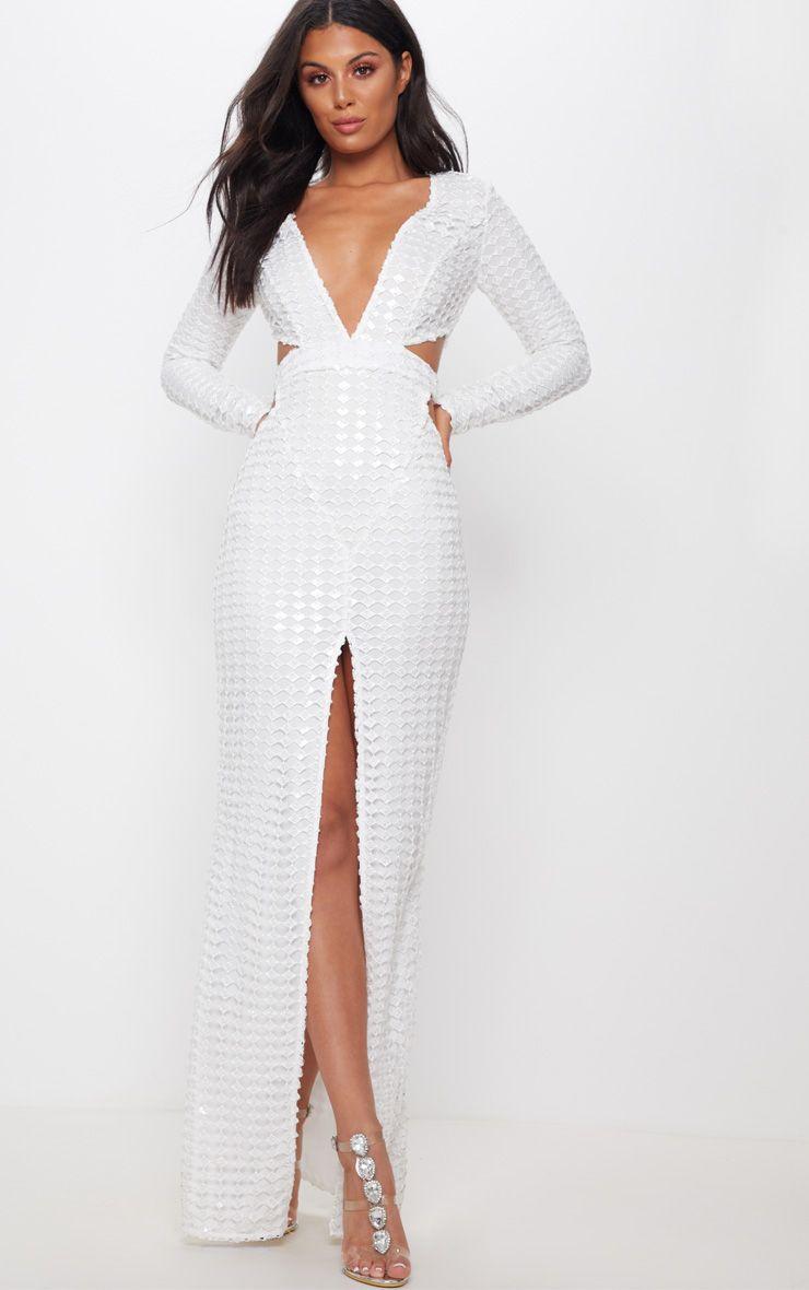 c435783b9d8b White Metallic Detailed Cut Out Plunge Maxi Dress in 2019 ...