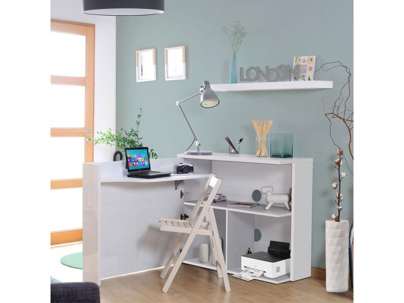 Extensible Desk Console White Easy L 104 Xl 40 141 Xh 89 New Office Sale Conforama Bureau Pliable Console Blanc Bureau
