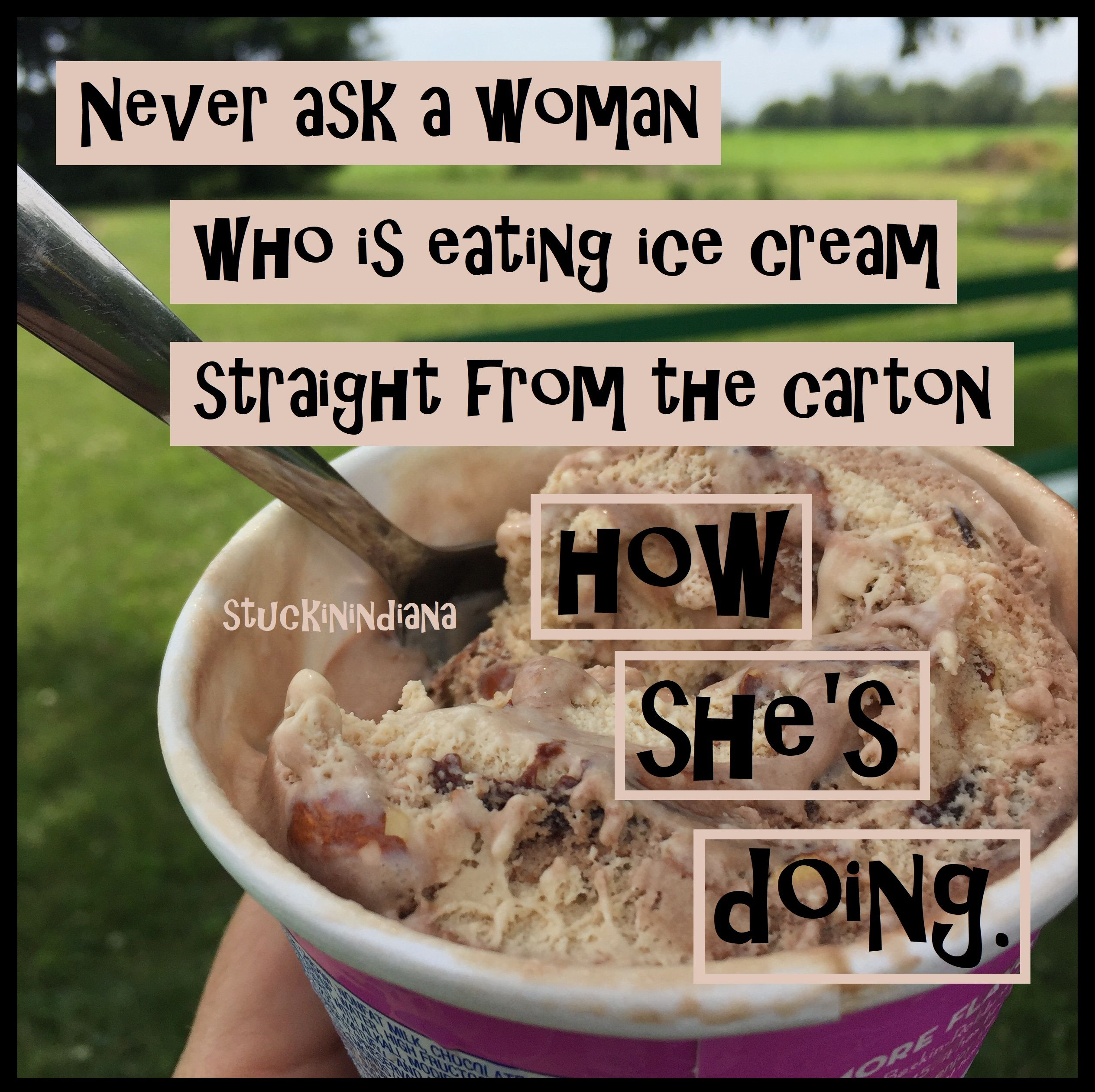 Never Ask A Woman Who Is Eating Ice Cream Straight From The Carton How She S Doing Humor Icecream Eating Ice Cream Eat Baking Ingredients