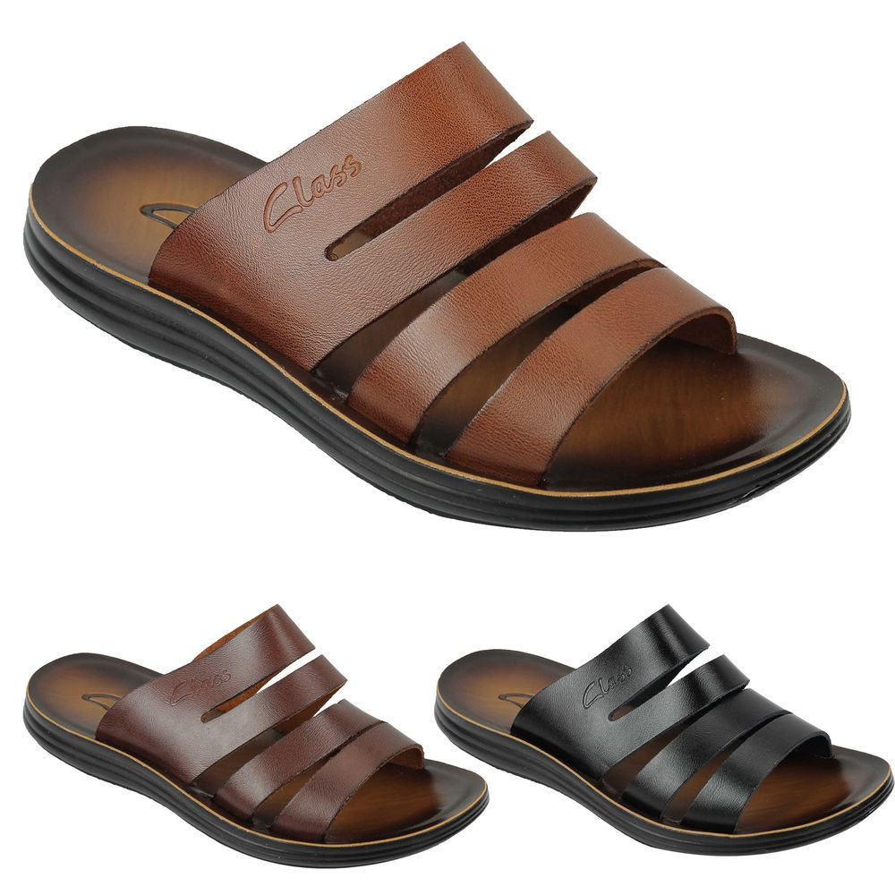 New Mens Genuine Leather Sandals Beach