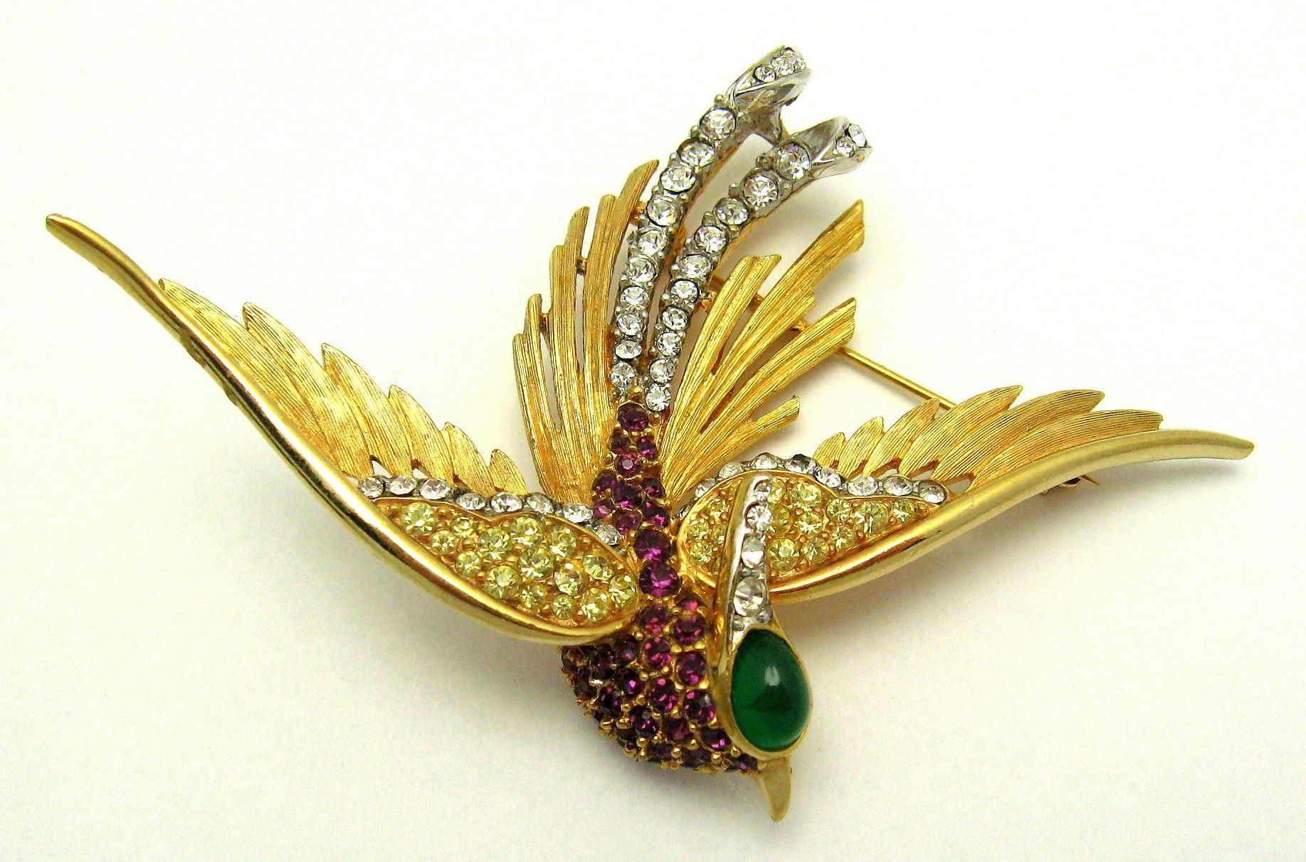 7b3d343b0a224 Vintage BOUCHER Rare and Large Bird Brooch 18k Gold Plated Crystal ...