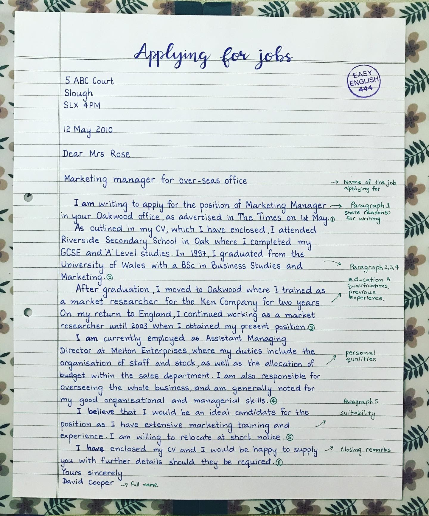 Cover Letter For Job Application In