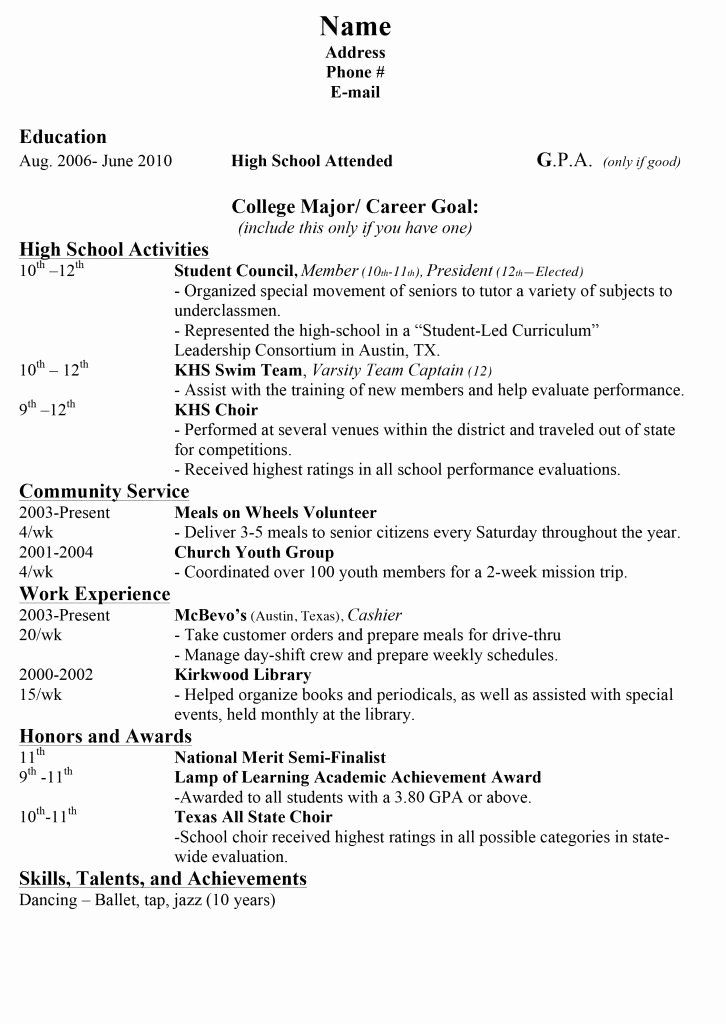 resume template college application best of 15 sample