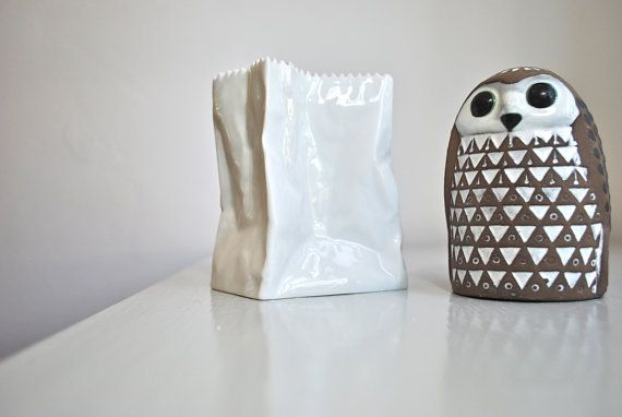 paper bag vase and mid-century geometric owl