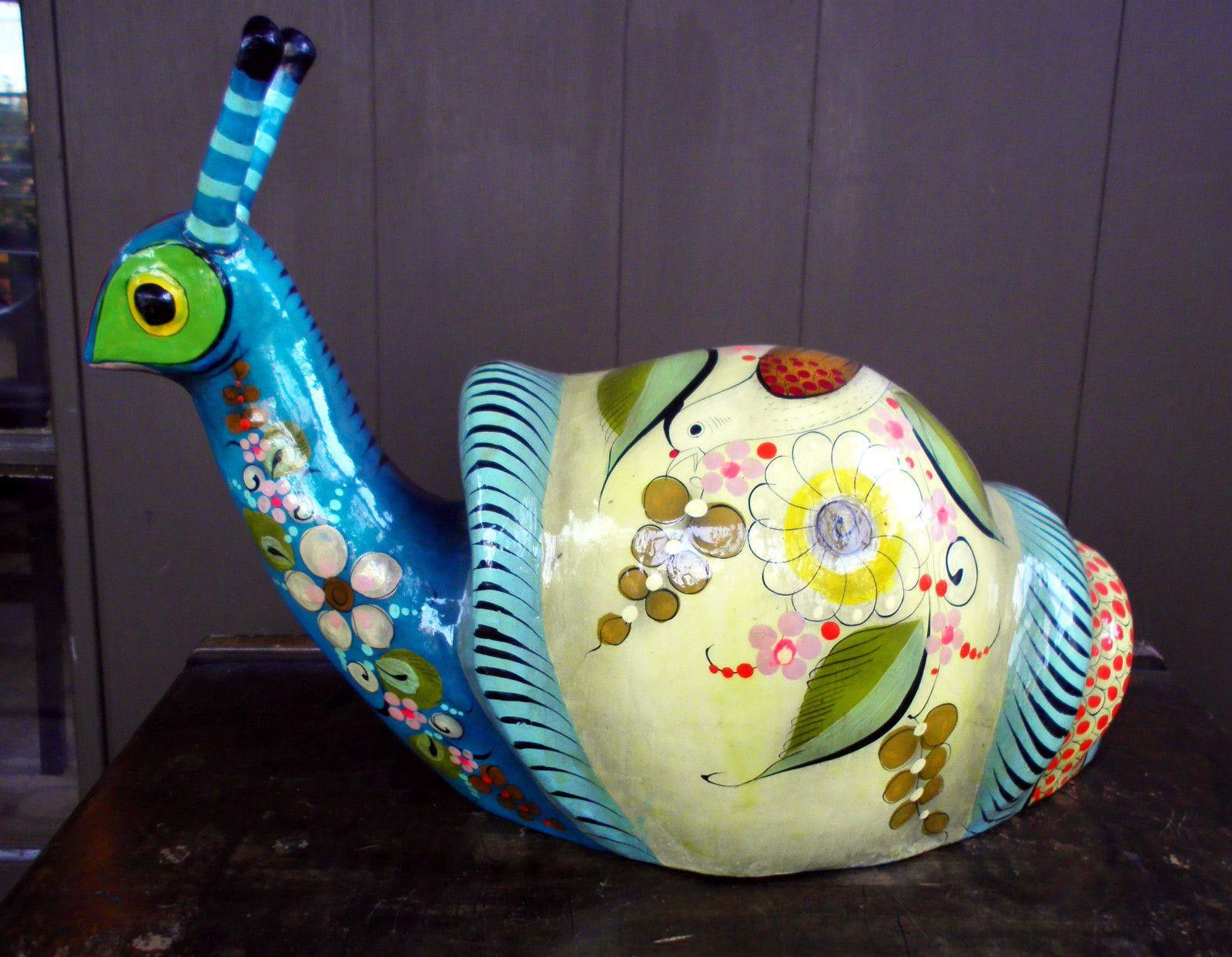 RARE Vtg Sermel Tonala JAL Mexican Folk Art Large Paper Mache Snail Hand Painted | eBay