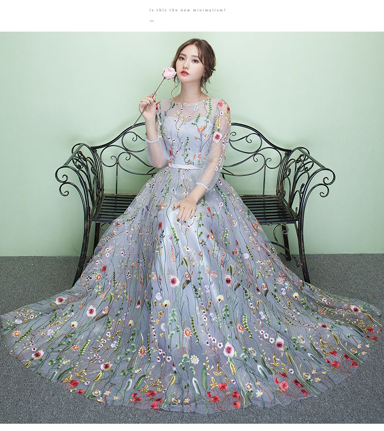 1ba2a106062 Buy Rosita 3 4-Sleeve Floral Embroidered Evening Gown