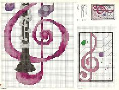 instrumentos musicais em ponto de cruz - Pesquisa Google