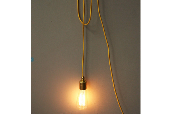 A Cool Lamp With Antique Style Bulb And Brightly Coloured Flex Designed By Proper This Minimal Pendant Lamp Looks Wonderfully S Pendant Lamp Lamp Cool Lamps