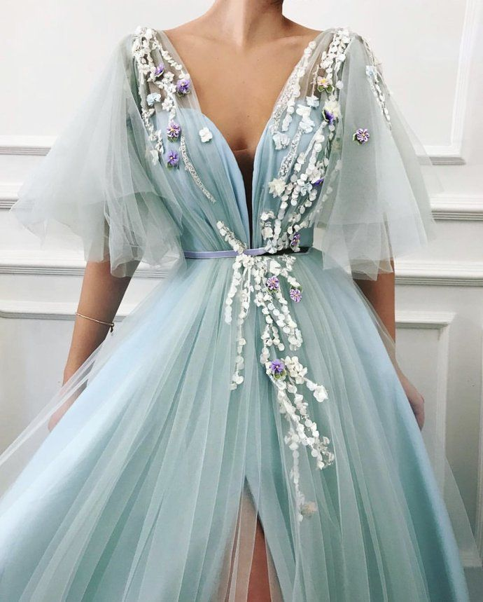 Sexy Long Prom Dress Tulle A-Line Evening Dress V-neck Formal Gowns Cheap Prom Gowns G5958