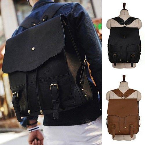 Korean Fashion style Mens Backpack School bag Bookbag Vintage Faux leather  kpop 635b213ead69c