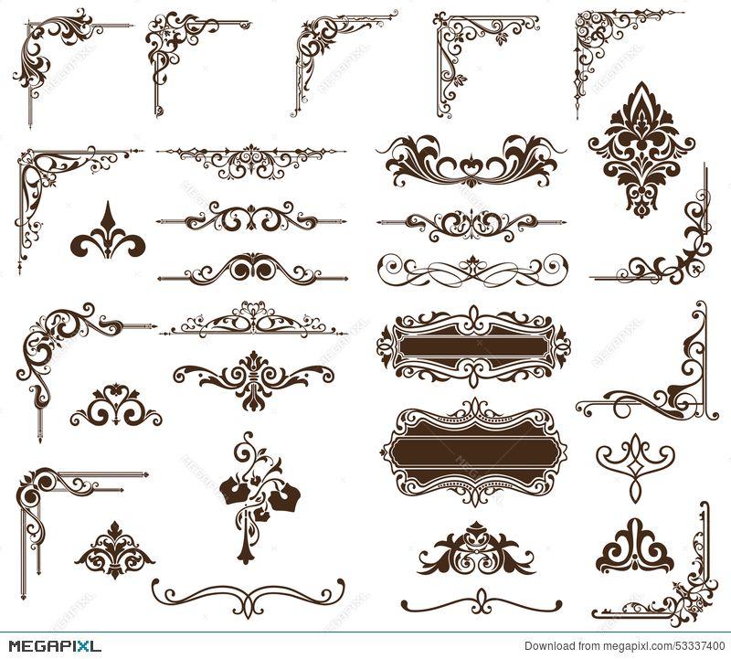 Vector Set Vintage Ornaments Corners Borders Vintage Ornaments Free Clip Art Art Nouveau Design