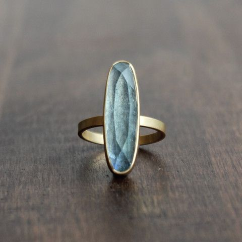 Monika Krol Aquamarine Ring, Unique faceted oval doublet of aquamarine over labradorite. Set in 18k gold. – Meeka Fine Jewelry