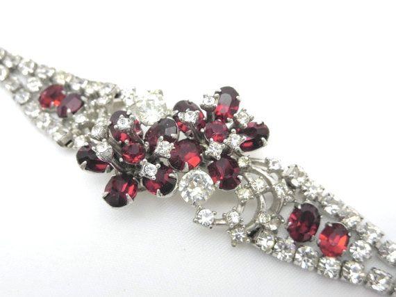Christian Dior Bracelet Kramer for Dior Ruby Red Rhinestone