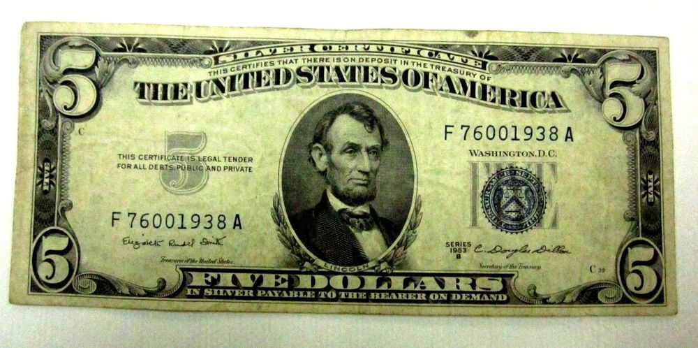 Details About 1953a 5 Silver Certificate Old Note Paper Money Blue