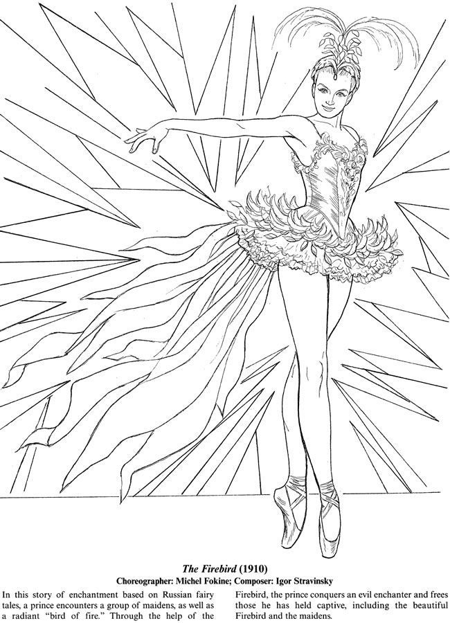 Favorite Ballets Coloring Book Dover Publications Coloring pages - copy coloring pages of dance shoes