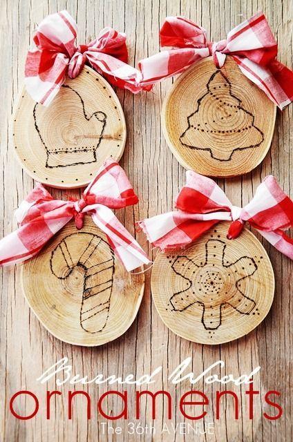 Diy - Burned Wood Christmas Ornaments holiday ideas Pinterest
