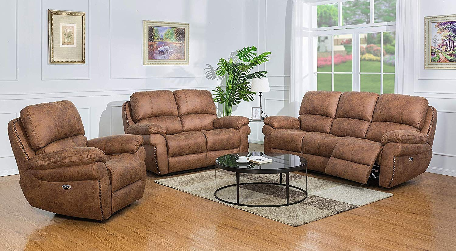 Mollai Collection 3 Pc Power Reclining Sofa Loveseat Chair Brown Fabric Luxury Home Furniture Living Room Sets Home Furniture