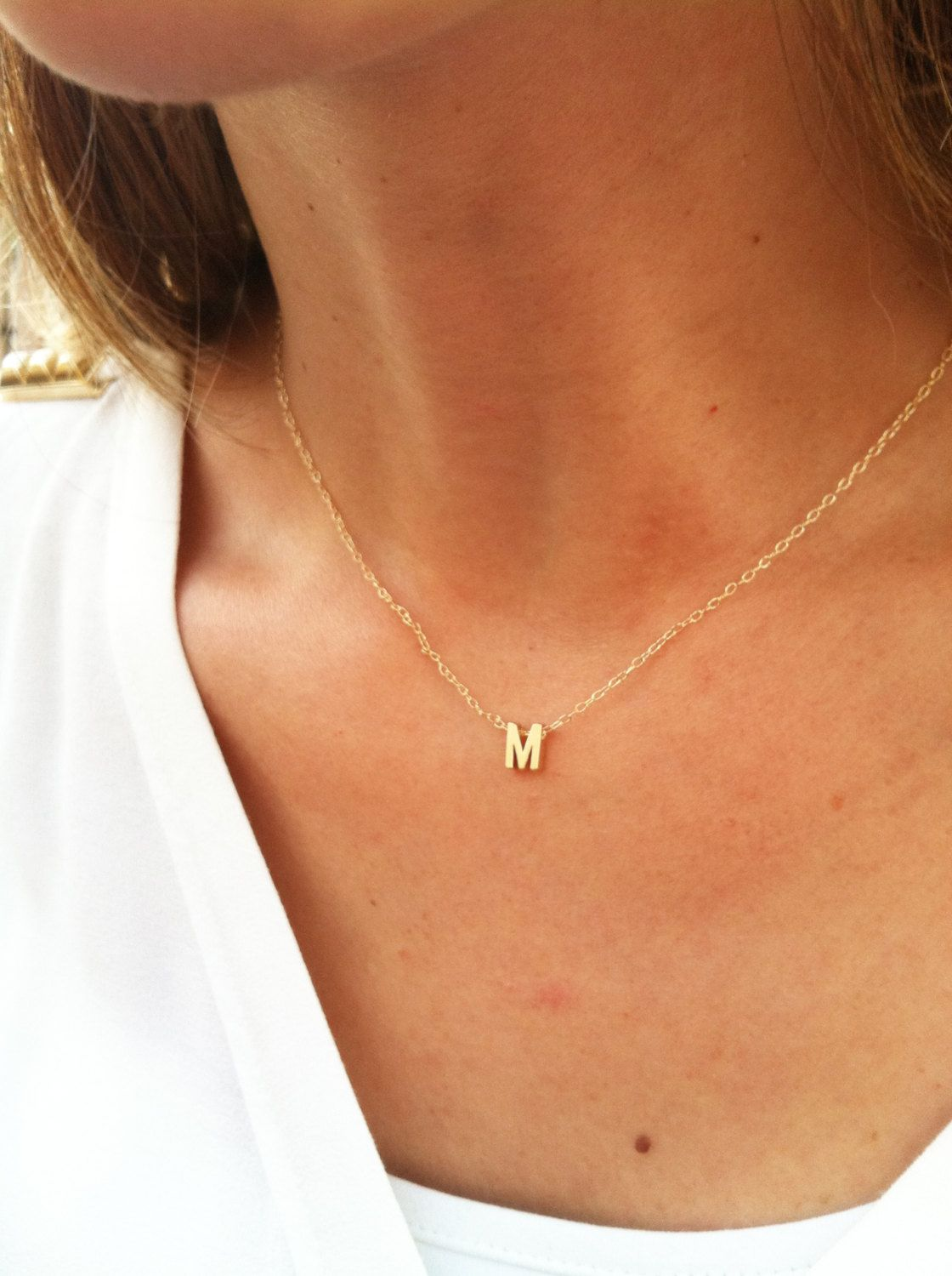 Tiny gold initial necklace gold letter necklace gold initial