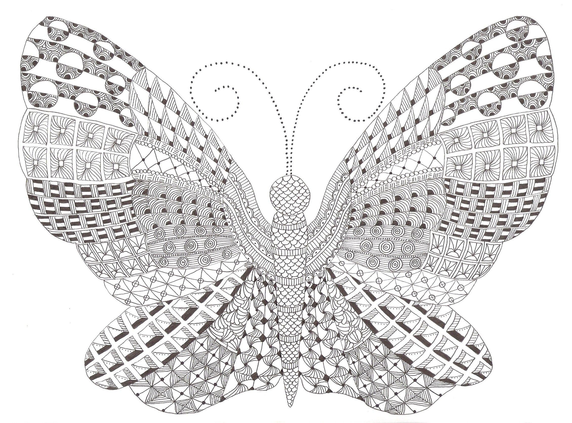 Zentangle Made By Mariska Den Boer 80 Vlinder Tekening Kleurplaten Pentekeningen