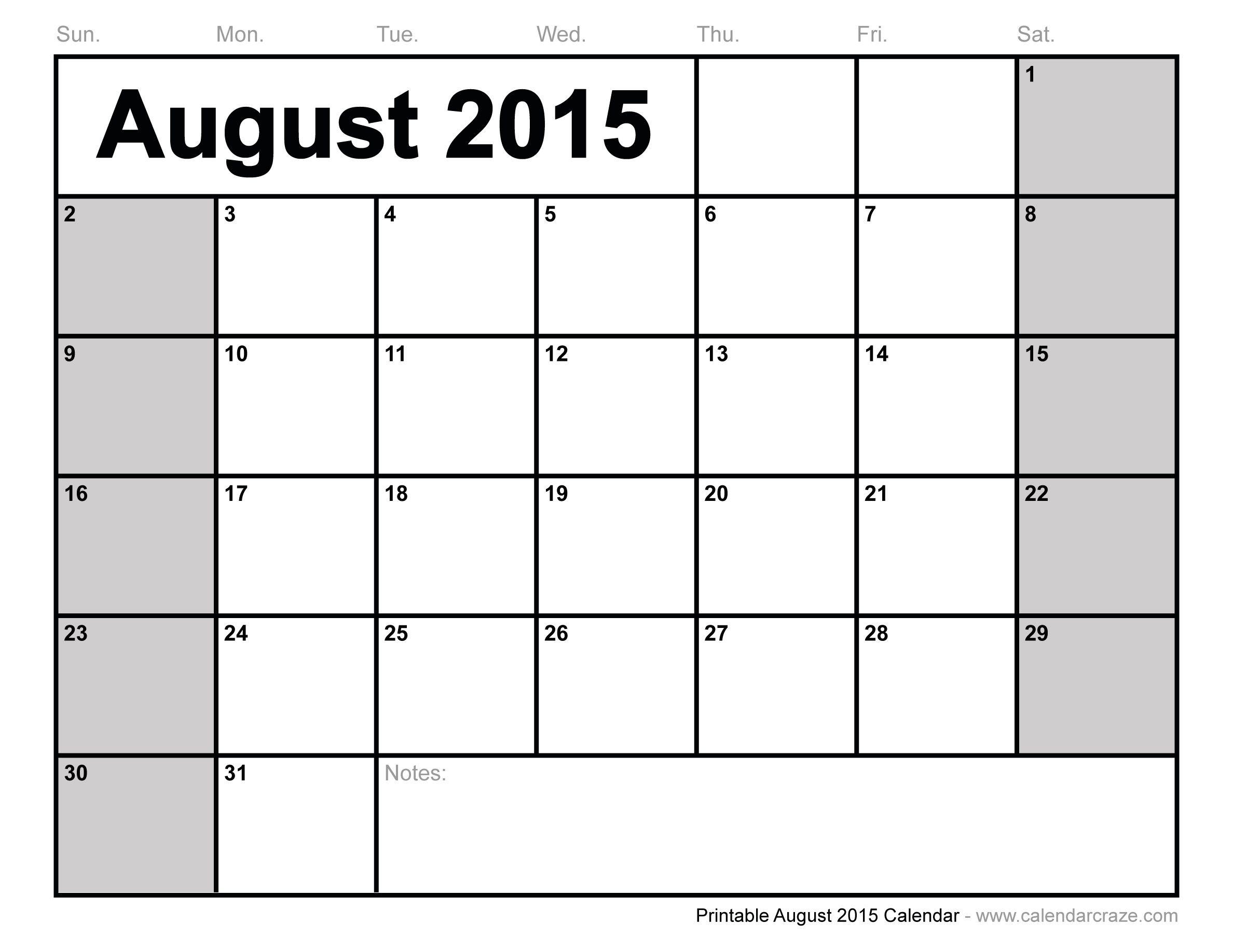 August 2015 Calendar - This Calendar Portal provides you Free ...
