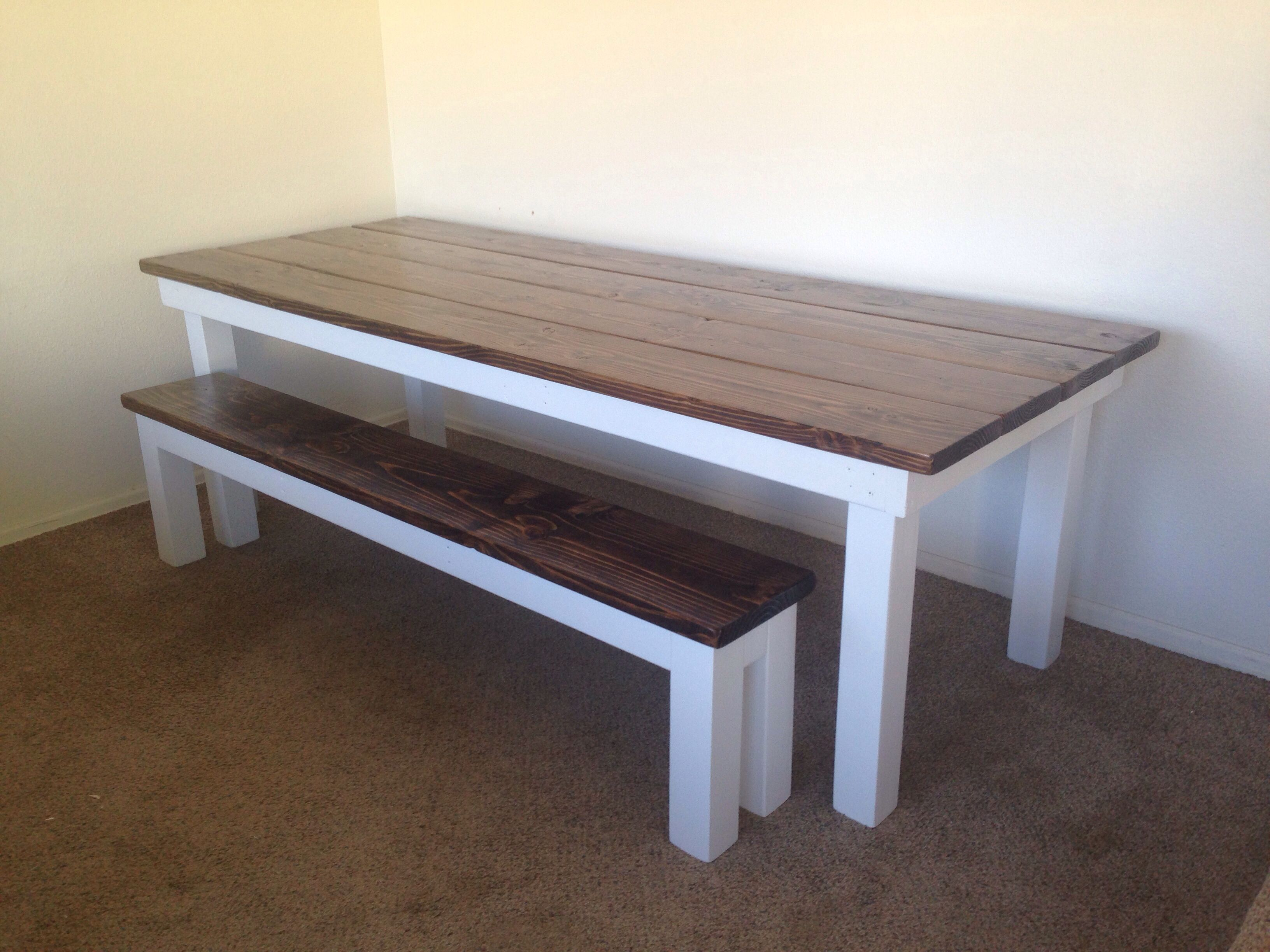 Good Custom Planked Top Farmhouse Table With Dark Walnut Stain And White Base.  Visit Http
