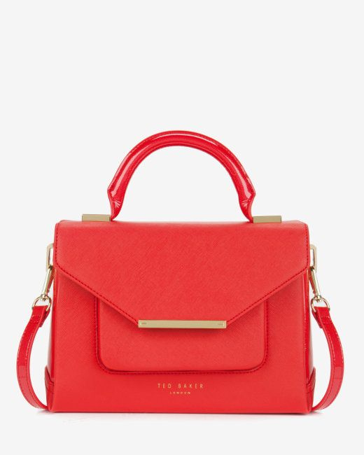 5265fbc49c56 Patent crosshatch lady bag - 84-MID ORANGE