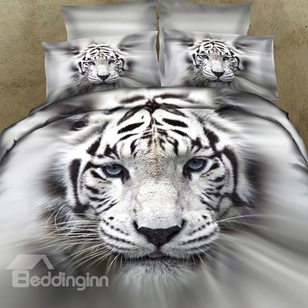 New Arrival 100 Cotton Lifelike White Tiger 3d Printed 4 Piece