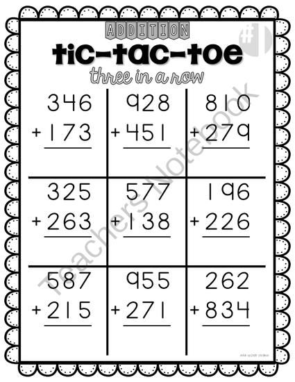 Addition TicTacToe  In A Row  Digits From Leslievarghese On