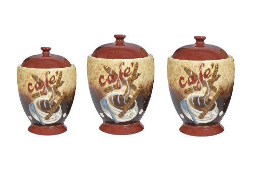 Cafe Latte Canister Sets | Coffee Themed Kitchen Canister Sets