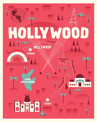 Hand Illustrated Map Shows You Direct Route Up Close To The Hollywood Sign