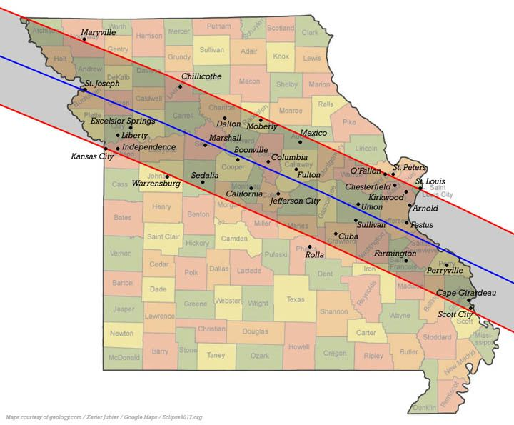 Image result for total solar eclipse 2017 path of totality missouri