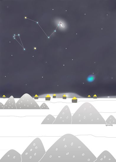 Home amongst the stars #illustration #winter #snow #stars #Andromeda #Artic