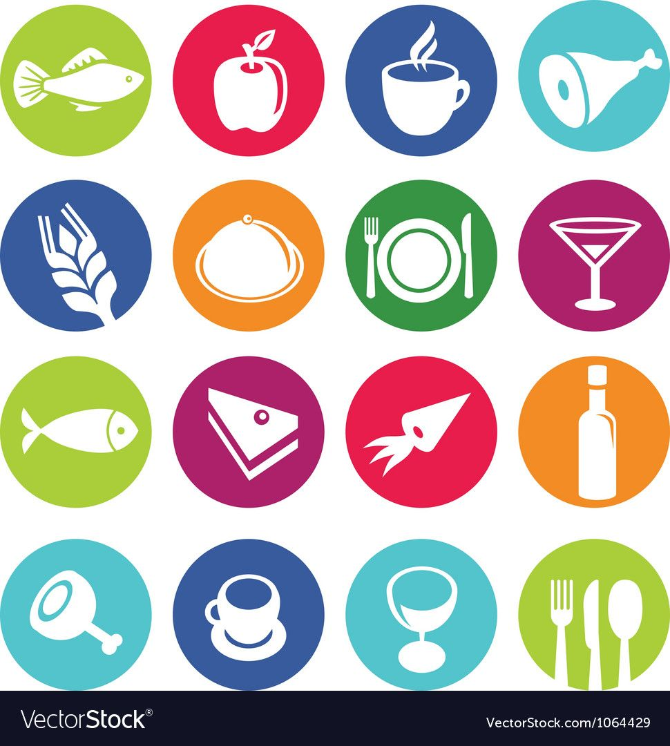 Set or restaurant icons and food vector image on
