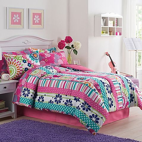Bring A Fun And Bright Look To Your Little Girl 39 S Bed With The Ronda Comforter Set Pieced With Girl Comforters Bedroom Comforter Sets Girls Comforter Sets