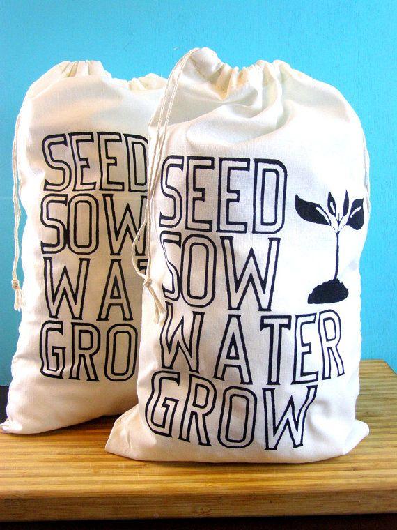 Vegetable Produce Bags How Gardens Grow Bag Vegan/Vegetarian - farmers market bag draw string bags Indie Housewares green gardening gifts