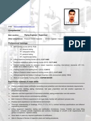 Piping Engineer Resume Engineering Resume Read Online For Free