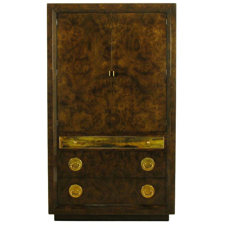 Mastercraft Burl and Acid Etched Brass Wardrobe Cabinet ...