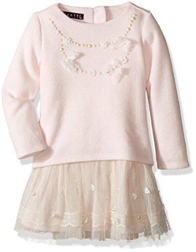 680298e446 Biscotti Girls  Little Girls  Cozy Couture Long Sleeve Sweater Dress with  Netting Skirt