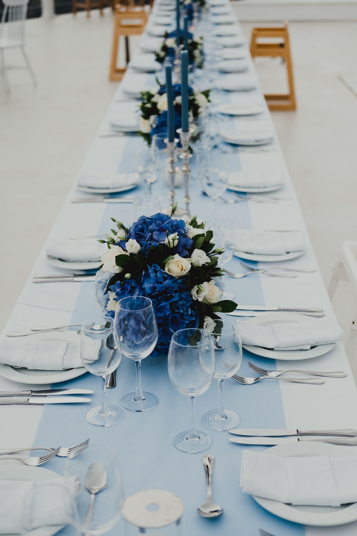 Santorini Destination Wedding Wedding Table Decorations Blue