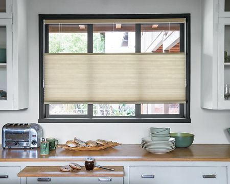 Dream Kitchen With Top Down Bottom Up Grand Cell Honeycomb Shades In Natural 3263 Custom Window Shade Honeycomb Shades Window Treatments