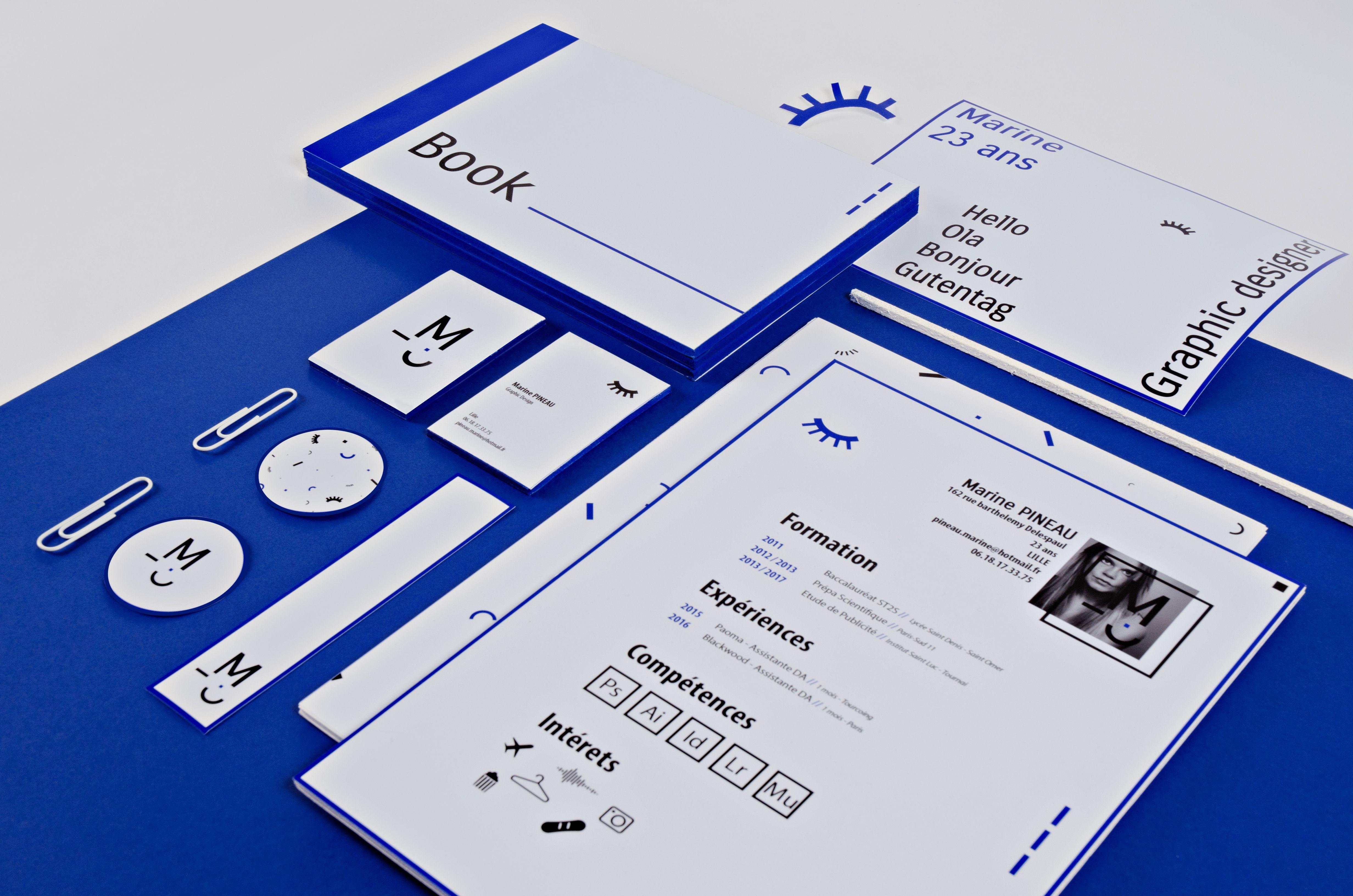 Selfbranding Bleu Identite Graphique Carte De Visite CV Book Graphic Designer Marine PINEAU