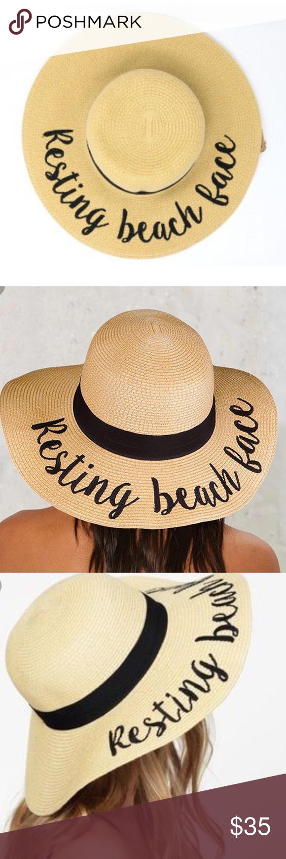 "Floppy Beach ""Resting Beach Face"" Resting Beach Face... Floppy Hat Sequined 0b0a8bba461"