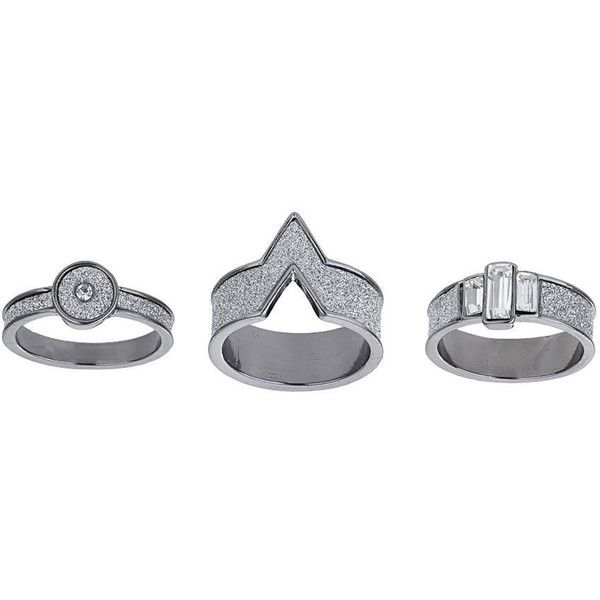 TOPSHOP Glitter Trio Ring Pack (69 BRL) ❤ liked on Polyvore featuring jewelry, rings, silver, topshop jewelry, dark ring, trio rings, topshop and glitter jewelry