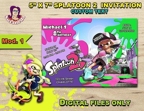 splatoon 2 personalized invitation 5x7 splatoon 2 birthday