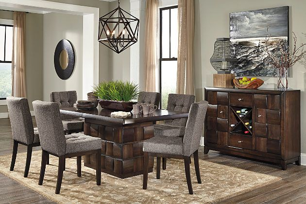 7c657a7d6ce1 Ashley Furniture Home store Chanella dark brown modern dining set with gray  upholstered chairs